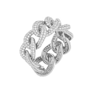Silver / 9 Pavé Oval Chain Link Ring - Adina's Jewels