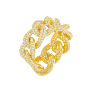 Pavé Oval Chain Link Ring Gold / 9 - Adina's Jewels