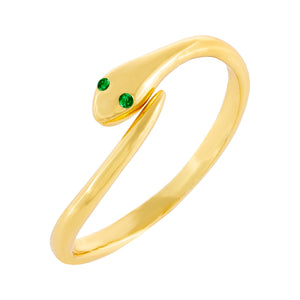 CZ Snake Wrap Ring Gold - Adina's Jewels