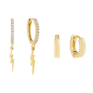 Lightning X Cartilage Huggie Earring Combo Set Gold - Adina's Jewels