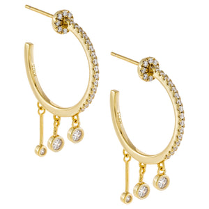 CZ Dangling Bezel Hoop Earring Gold - Adina's Jewels