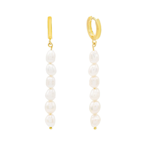 Pearl White Pearl Dangling Bar Huggie Earring - Adina's Jewels