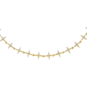 Gold CZ Diamond Shape Choker - Adina's Jewels