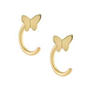 Butterfly Threader Hoop Earring Gold - Adina's Jewels