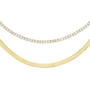 Tennis Choker X Herringbone Necklace Combo Set Gold - Adina's Jewels