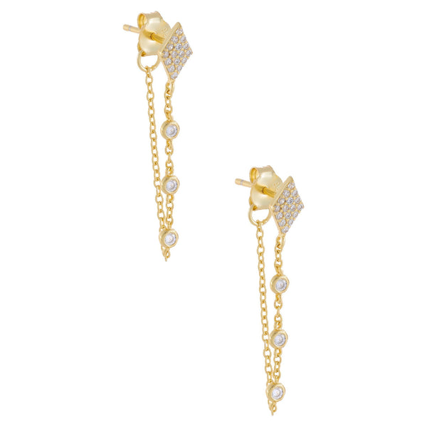 Gold CZ Diamond Shape Chain Stud Earring - Adina's Jewels