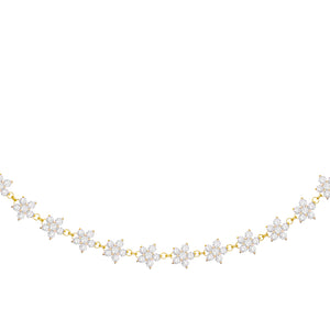 CZ Multi Flower Choker Gold - Adina's Jewels