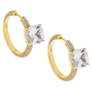 Large CZ Stone X Pavé Hoop Earring Gold - Adina's Jewels