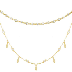 CZ Bezel X Teardrop Choker Combo Set Gold - Adina's Jewels