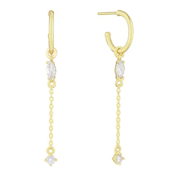 Marquise Chain Drop Hoop Earring Gold - Adina's Jewels