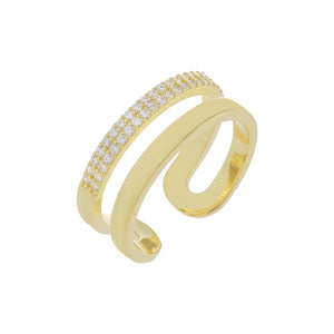 Pavé/Solid Double Row Ring Gold - Adina's Jewels