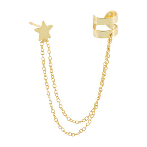 Gold Star Chain Ear Cuff - Adina's Jewels