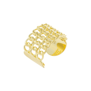Wide Solid Multi Chain Link Ring Gold - Adina's Jewels