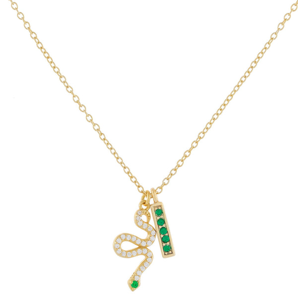 Pavé Snake X Bar Necklace