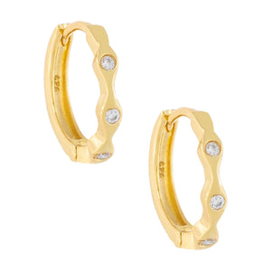 Mini Bezel Huggie Earring Gold - Adina's Jewels