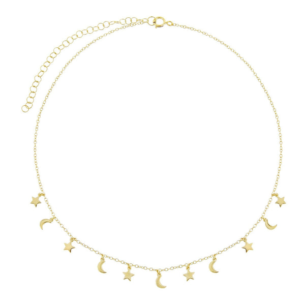 Solid Moon and Star Choker - Adina's Jewels