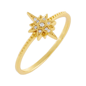 Pavé Starburst Beaded Band Gold / 6 - Adina's Jewels