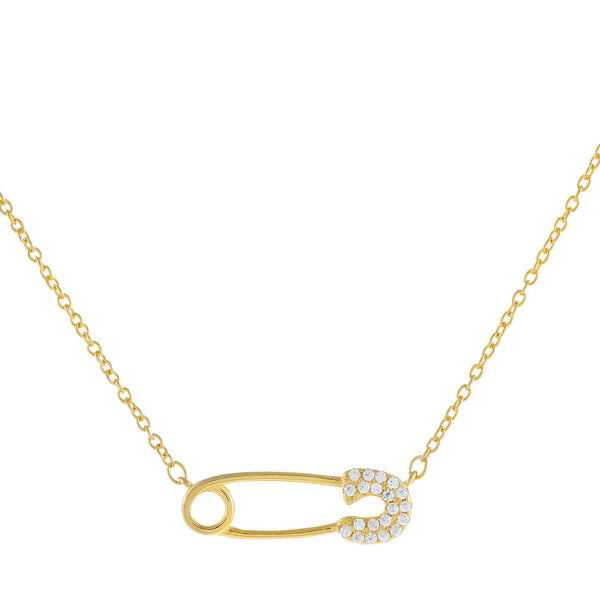 Large CZ Safety Pin Necklace