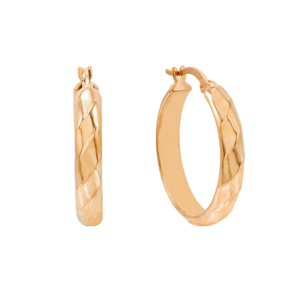 Rose Gold / 25 MM Wide Twisted Hoop Earring - Adina's Jewels