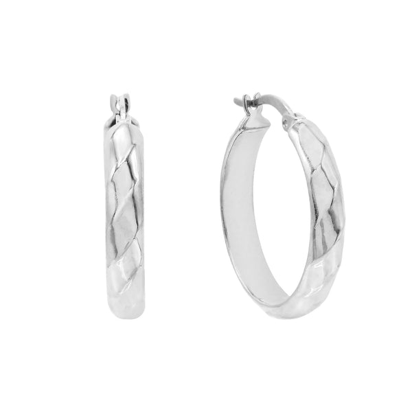 Silver / 25 MM Wide Twisted Hoop Earring - Adina's Jewels