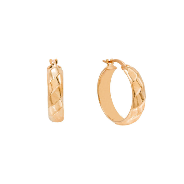 Rose Gold / 15 MM Wide Twisted Hoop Earring - Adina's Jewels