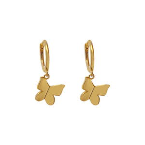 Solid Butterfly Huggie Earring Gold - Adina's Jewels