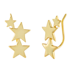 Stars Ear Climber Gold - Adina's Jewels