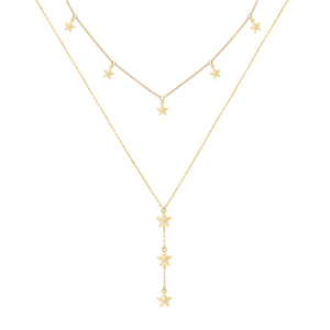 Stars Necklace X Lariat Combo Set Gold - Adina's Jewels