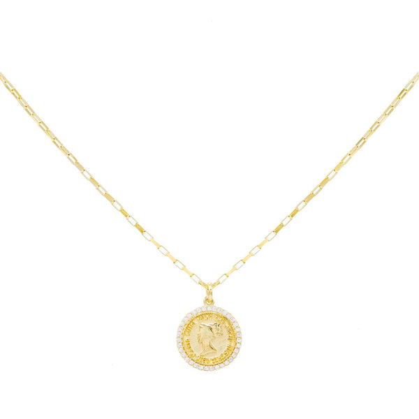 Gold Pavé Coin Link Necklace - Adina's Jewels