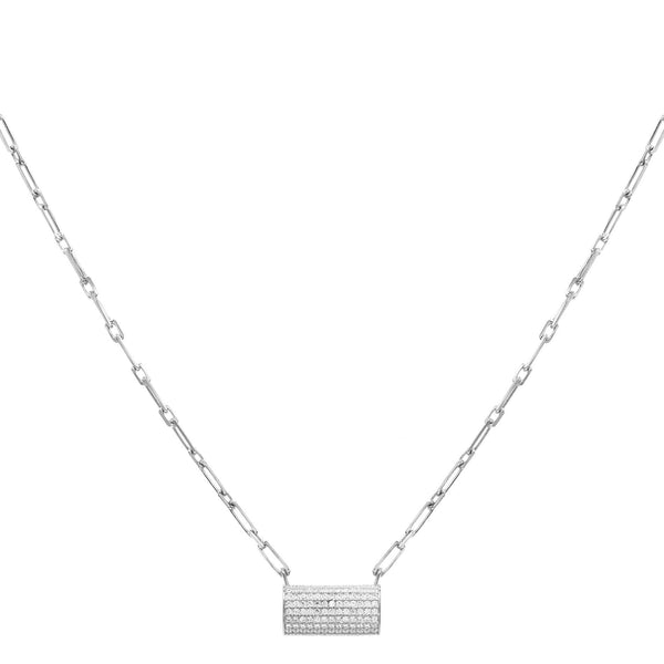 Wide Bar Link Necklace Silver - Adina's Jewels