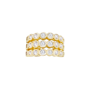 Bezel Triple Row Ear Cuff Gold - Adina's Jewels