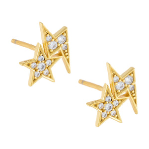 CZ Star X Lightning Stud Earring Gold - Adina's Jewels