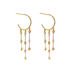 Bezel Drop Hoop Earring Gold - Adina's Jewels