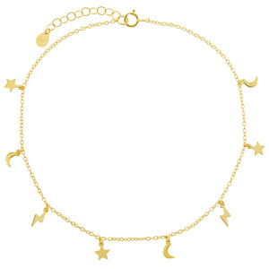 Gold Solid Celestial Anklet - Adina's Jewels