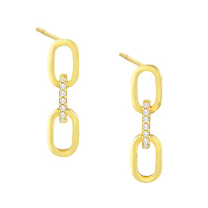 CZ X Solid Link Stud Earring Gold - Adina's Jewels