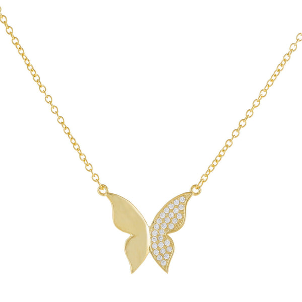 Solid X CZ Butterfly Necklace