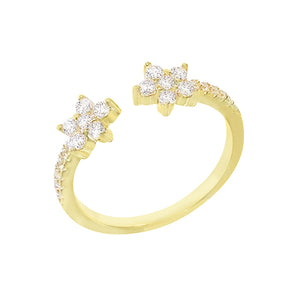 CZ Flower Adjustable Ring Gold - Adina's Jewels