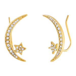CZ Star X Moon Ear Climber Gold - Adina's Jewels