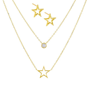 Open Star Necklace X Stud Earring Combo Set Gold - Adina's Jewels