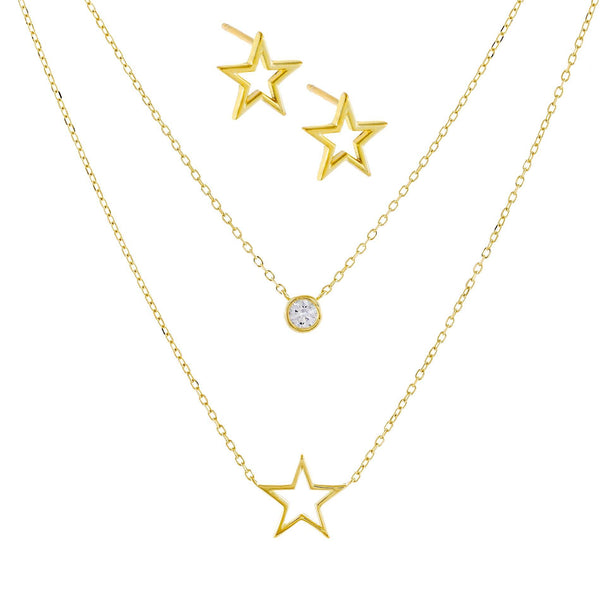 Open Star Necklace X Stud Earring Combo Set