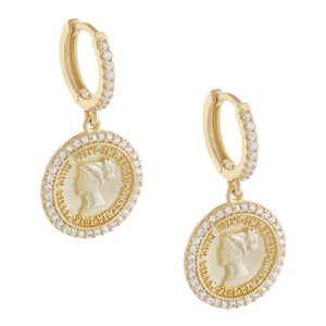 Gold Pavé Coin Huggie Earring - Adina's Jewels