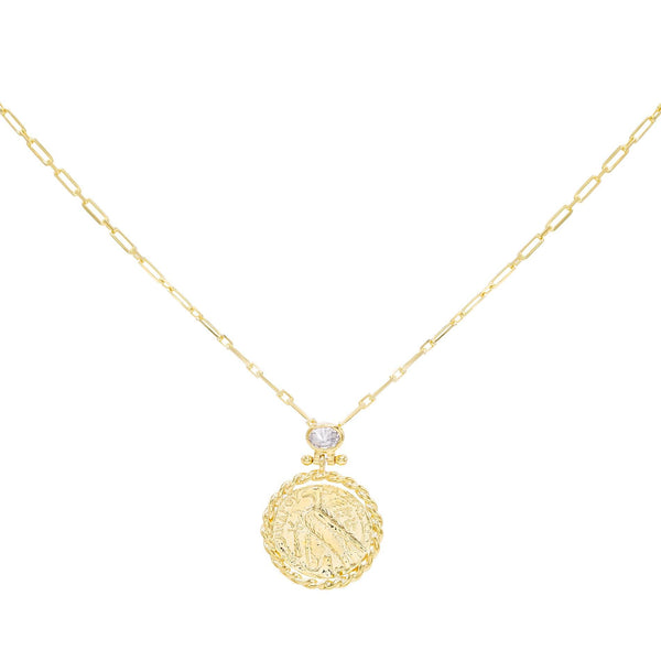 Gold Large Coin Necklace - Adina's Jewels