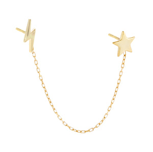 Gold / Single Star X Lightning Chain Stud Earring - Adina's Jewels