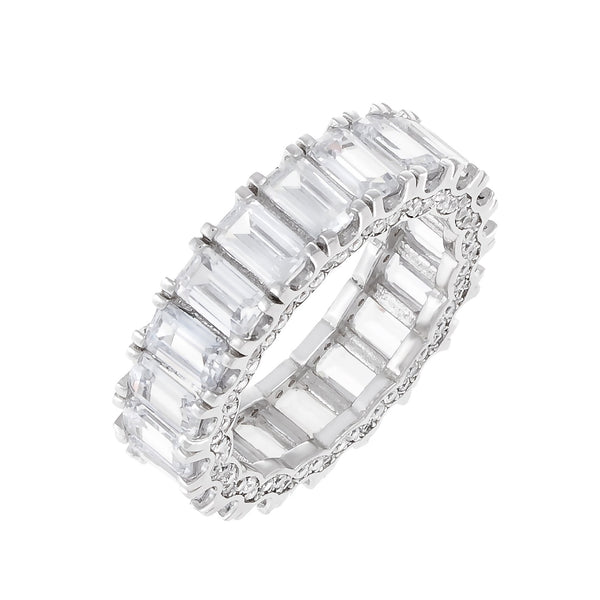 Silver / 6 Pavé Crowned Baguette Ring - Adina's Jewels