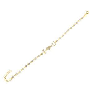 Pavé I Love You Bracelet Gold - Adina's Jewels