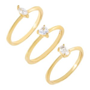Multi-Shape CZ Ring Combo Set Combo / 6 - Adina's Jewels