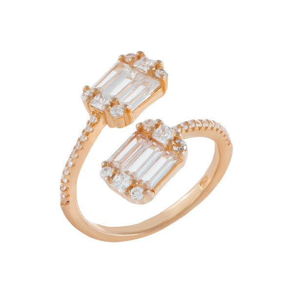Baguette Wrap Ring Rose Gold / 6 - Adina's Jewels