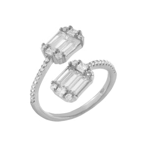 Baguette Wrap Ring Silver / 6 - Adina's Jewels