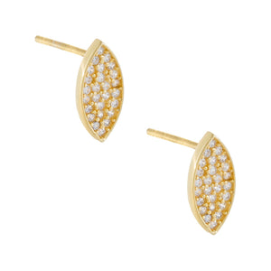 Gold CZ Leaf Shape Stud Earring - Adina's Jewels