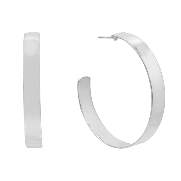 Wide Hoop Earring Silver / 40 MM / Plain - Adina's Jewels